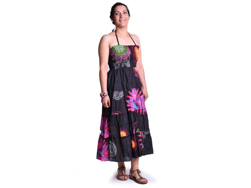 """Dlouhé černé šaty naramínka """"Flower Mandala"""" žabičkování"""