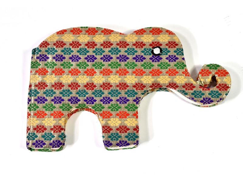 Notýsek ve tvaru slona, zlato-multibarevný brokát, 19x12cm