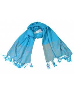 Modrý šál s jemným paisley designem a třásněmi, cca 180x70cm