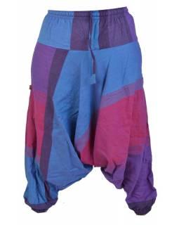 Turecké kalhoty, dlouhé, modro-fialová, žabičkování v pase