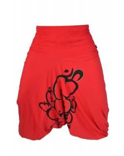 Červené turecké kalhoty s potiskem velkého Ganeshi, žabičkování