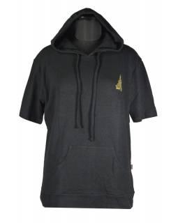 Konopné pánské černé tričko s kapucí, výšivka stupa, kapsa na břiše