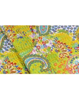 Zelený přehoz na postel s Paisley potiskem, ruční práce, prošívání, 270x240cm