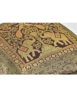 Hnědý povlak na polštář, dva sloni a pávi, bohatá zlatá výšivka, 40x40cm