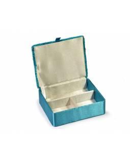 Ručně vyšívaná šperkovnice, tyrkysová s korálky, 15x13x4cm