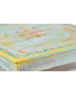 Stolek, malovaný, tyrkysový, starý teak, 58x58x17cm