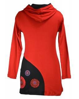 Červeno černé prodloužené mikinové šaty s kapucí, aplikace mandal