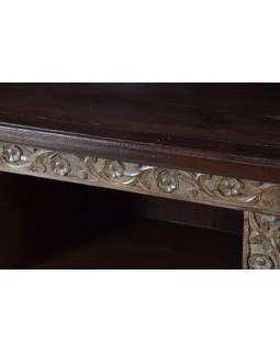 Knihovna z antik teakového dřeva, dvoudílná, 196x46x200cm
