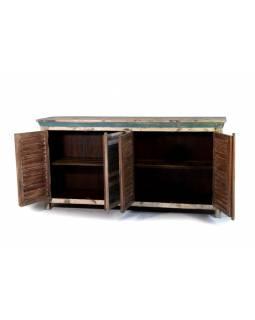 Komoda z teakového dřeva, bílá patina, 180x45x93cm