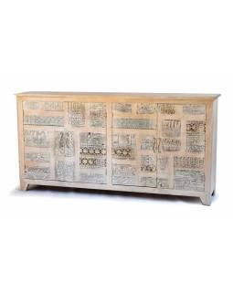 Komoda ze starého teakového dřeva s ručně vyřezávanými šuplíky, 205x50x105cm