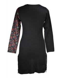 Krátké šaty s dlouhým rukávem, černé, černý Flower Spiral tisk, šňůrky
