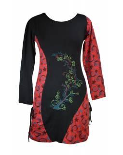 Krátké šaty s dlouhým rukávem, černé, červený Flower Spiral tisk, šňůrky