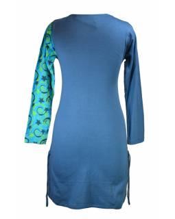Krátké šaty s dlouhým rukávem, tmavě modré, tyrkysový Flower Spiral tisk, šňůrky
