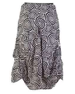 Dlouhá balonová sukně se spirálami, bílo-černá
