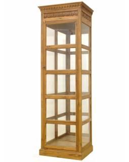 Velká prosklená skříň z tropického dřeva, 66x46x202cm