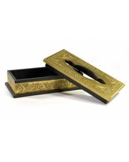Krabička na kapesníky, drěvěná, zdobená mosazným plechem, 25x13x8cm
