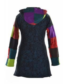 Kabátek v multibarevném patchworkovém provedení s kapucí, zapínání na zip, kapsy