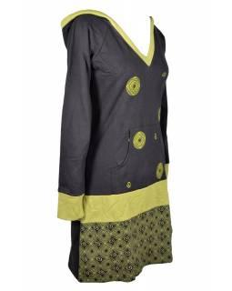 Mikinové šaty, dlouhý rukáv, černo-zelené s kapucí, kapsou a potiskem