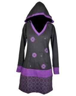Černo fialové mikinové šaty s kapucí, kapsou a potiskem