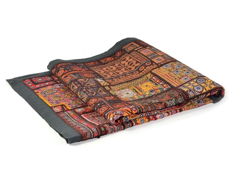 Tapiserie z Rajastanu, patchwork, zrcátka, jemná ruční práce, 100x150cm