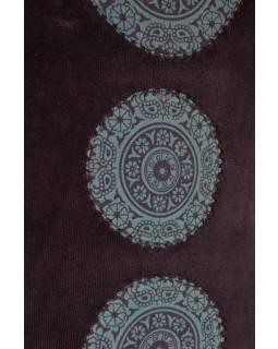 Krátké modré sametové šaty s krátkým rukávem a Chakra tiskem