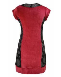 Krátké červeno černé sametové šaty s krátkým rukávem a Chakra tiskem