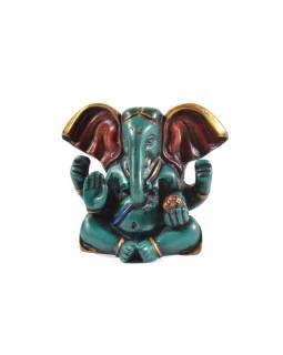 Ganesh baby sedící, tyrkysový, ručně malovaný, pryskyřice, 8cm