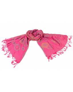 Šátek, kolečkový design, růžový, třásně, viskóza, 170x75cm