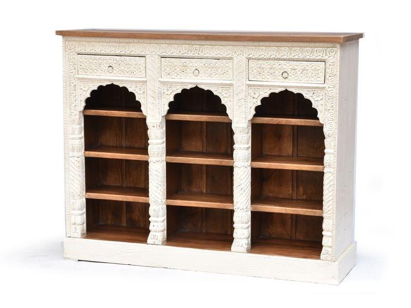 Vyřezávaná knihovna z antik teakového a mangového dřeva, 151x42x113cm