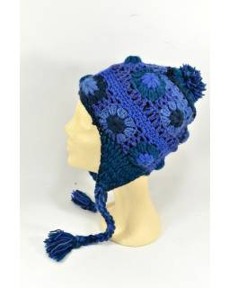 Čepice s ušima, 2 kytky v řadě, podšívka, tmavě modrá