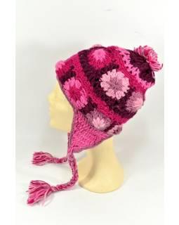 Čepice s ušima, 2 kytky v řadě, podšívka, růžová