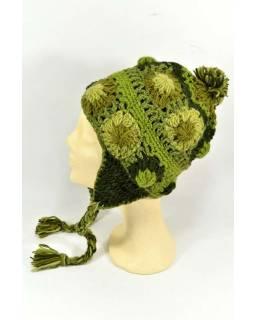 Čepice s ušima, 2 kytky v řadě, podšívka, zelená