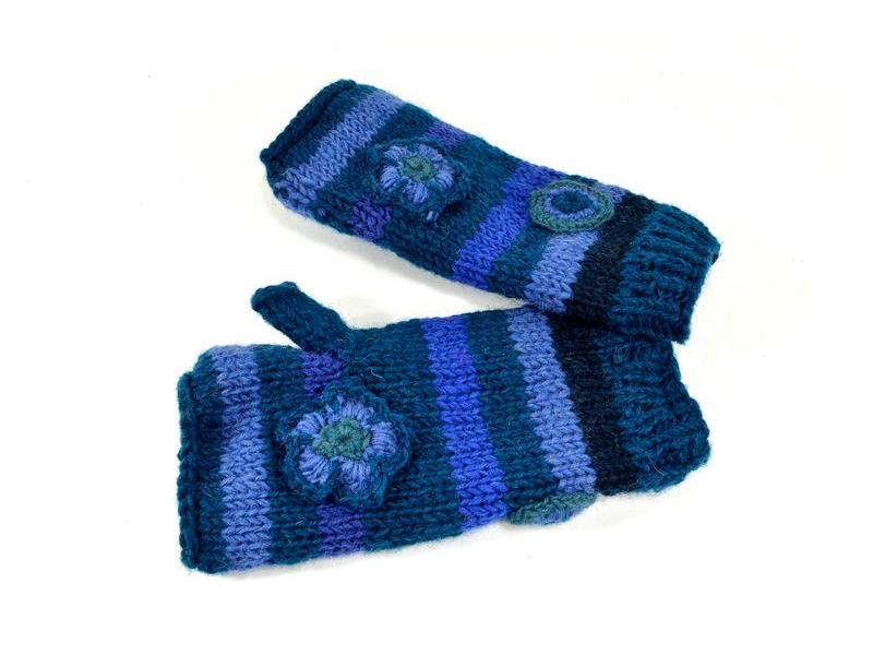 Rukavice, návleky, proužky, háčkované květy, modré, podšívka