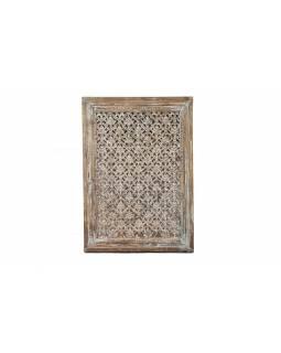 Vyřezávaný panel z mangového dřeva, bílá patina, 76x7x107cm