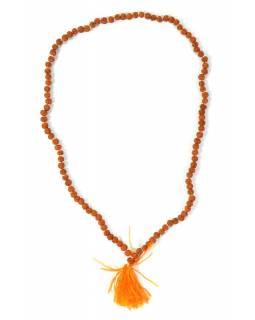 Modlitební korálky - mala Rudraksha, světlá, 108 korálků, 43cm