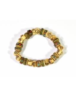 Náramek, dva druhy korálku, dřevěný-spirála, rohovina-vykládané barevné kamínky,