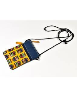 """Malá kabelka """"All owls"""", žlutá, ručně malovaná kůže, bavlna,16,5x11,5"""