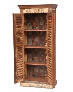 Skříň z antik teakového dřeva, lamelové dveře,  80x44x180cm