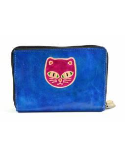 """Peněženka design """"Cat's head"""", ručně malovaná kůže, modrá, 15x10cm"""
