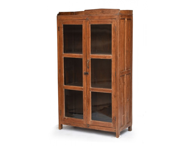 Skříň z antik teakového dřeva, prosklené dveře,  90x45x164cm