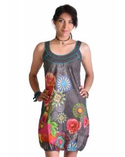 """Šedé šaty bez rukávu """"Savanna"""" s barevnými květinami, kapsy"""