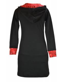Mikinové šaty s dlouhým rukávem a kapucou, černo-červené, potisk, kapsa na břiše