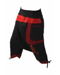 Turecké kalhoty, tříčtvrteční, černo-červeno-vínové, výšivka, kapsy
