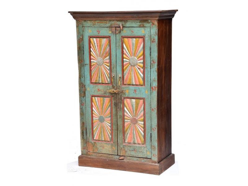 Skříň z antik teakového dřeva, vyřezávané dveře,  89x44x144cm