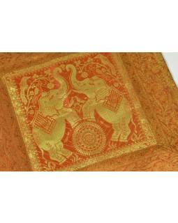 Oranžový povlak na polštář, dva sloni a pávi, bohatá zlatá výšivka, 40x40cm