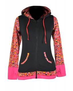 Černo růžová mikina s kapucí, potisk bublinek, zapínání na zip, kapsy