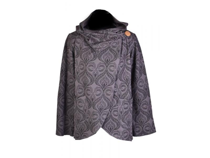 Šedo-černý kabát s kapucí zapínaný na knoflík, kapsy, celopotisk