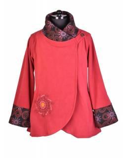 Vínovo-černý fleecový kabát s potiskem zapínaný na knoflík, výšivka, kapsy