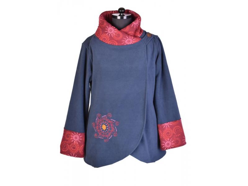Modro-vínový kabát s potiskem zapínaný na knoflík, výšivka, kapsy