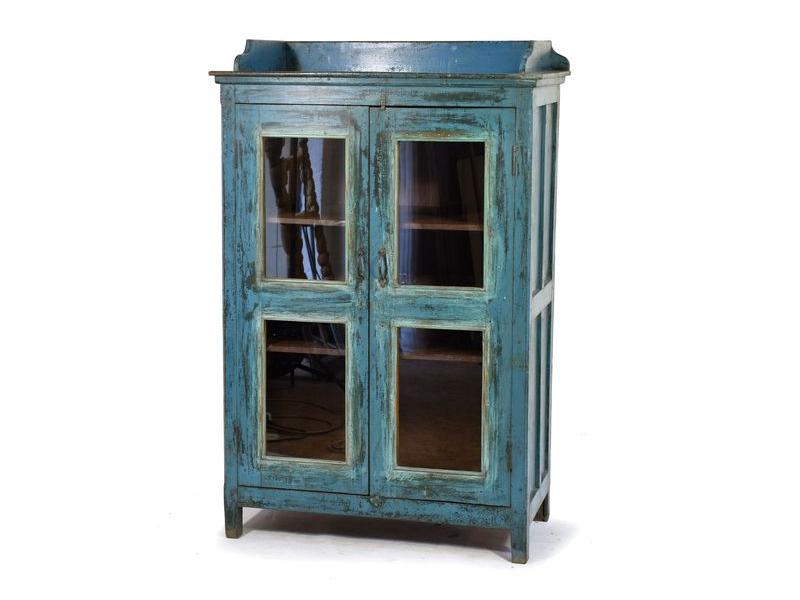 Prosklená skříňka z antik teakového dřeva, modrá patina, 95x50x148cm